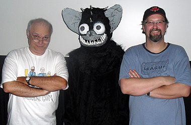 Mike Cook and writer/director Christopher R. Mihm pose with the bat!